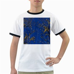 Poplar Foliage Yellow Sky Blue Ringer T Shirts