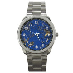 Poplar Foliage Yellow Sky Blue Sport Metal Watch
