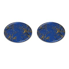 Poplar Foliage Yellow Sky Blue Cufflinks (oval)