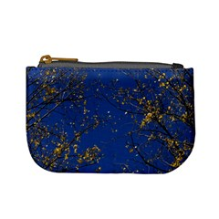 Poplar Foliage Yellow Sky Blue Mini Coin Purses