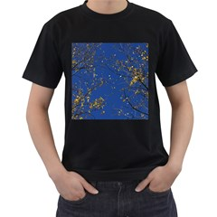 Poplar Foliage Yellow Sky Blue Men s T Shirt (black)