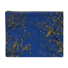 Poplar Foliage Yellow Sky Blue Cosmetic Bag (xl)