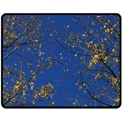 Poplar Foliage Yellow Sky Blue Fleece Blanket (medium)