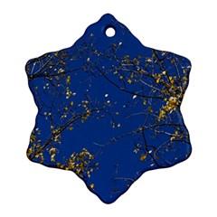 Poplar Foliage Yellow Sky Blue Snowflake Ornament (2 Side)
