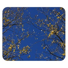 Poplar Foliage Yellow Sky Blue Double Sided Flano Blanket (small)