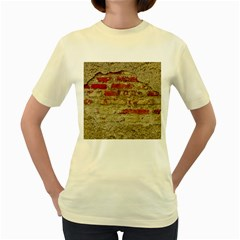 Wall Plaster Background Facade Women s Yellow T Shirt