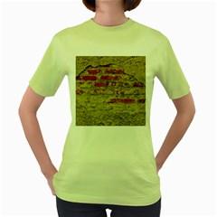 Wall Plaster Background Facade Women s Green T Shirt