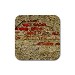 Wall Plaster Background Facade Rubber Square Coaster (4 Pack)