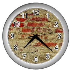 Wall Plaster Background Facade Wall Clocks (silver)
