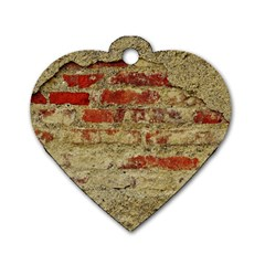 Wall Plaster Background Facade Dog Tag Heart (two Sides)