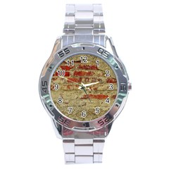 Wall Plaster Background Facade Stainless Steel Analogue Watch