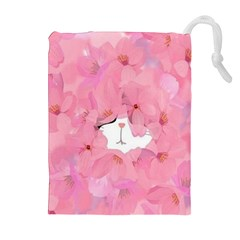 Gorgeous pink flowers  Drawstring Pouches (Extra Large)