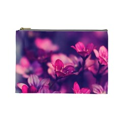 Blurry Violet Flowers Cosmetic Bag (large)