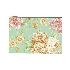 Vintage Pastel Flowers Cosmetic Bag (large)