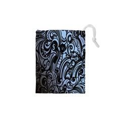 Gray Batik Blue Drawstring Pouches (XS)