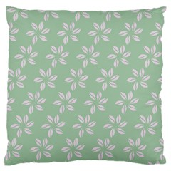Pink Flowers On Light Green Large Flano Cushion Case (two Sides)