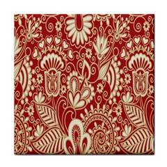 Red Flower White Wallpaper Organic Tile Coasters