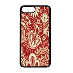 Red Flower White Wallpaper Organic Apple Iphone 7 Plus Seamless Case (black)