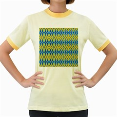 Blue Yellow Women s Fitted Ringer T Shirts