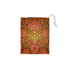 European Fine Batik Flower Brown Drawstring Pouches (XS)