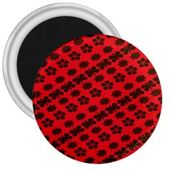 Diogonal Flower Red 3  Magnets