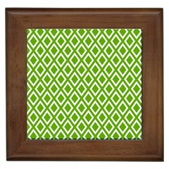 Diamonds Green White Framed Tiles
