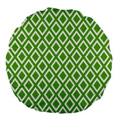 Diamonds Green White Large 18  Premium Round Cushions