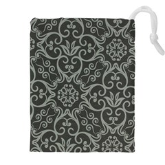 Flower Batik Gray Drawstring Pouches (XXL)