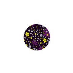 Floral Purple Flower Yellow 1  Mini Magnets