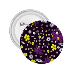 Floral Purple Flower Yellow 2 25  Buttons