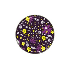 Floral Purple Flower Yellow Hat Clip Ball Marker