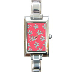 Flower Green Red Rectangle Italian Charm Watch
