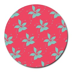 Flower Green Red Round Mousepads