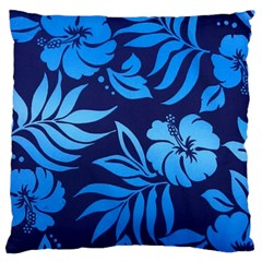 Flower Blue Large Flano Cushion Case (two Sides)