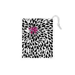 Flower Simple Pink Drawstring Pouches (XS)