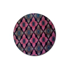 Flower Pink Gray Rubber Round Coaster (4 Pack)