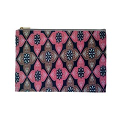 Flower Pink Gray Cosmetic Bag (large)