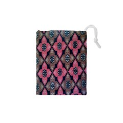 Flower Pink Gray Drawstring Pouches (XS)