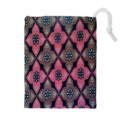 Flower Pink Gray Drawstring Pouches (Extra Large)