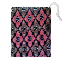 Flower Pink Gray Drawstring Pouches (XXL)