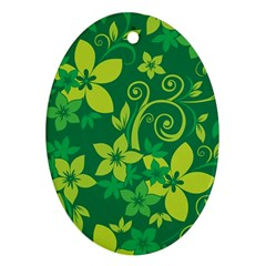 Flower Yellow Green Ornament (oval)