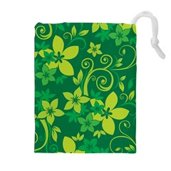 Flower Yellow Green Drawstring Pouches (Extra Large)