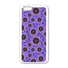 Flower Floral Purple Apple Iphone 6/6s White Enamel Case