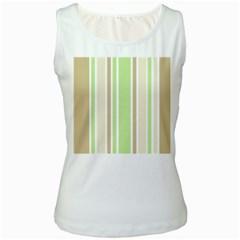 Gray Green Women s White Tank Top