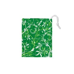 Leaf Flower Butterfly Green Drawstring Pouches (XS)