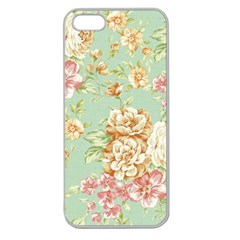 Vintage Pastel Flowers Apple Seamless Iphone 5 Case (clear)