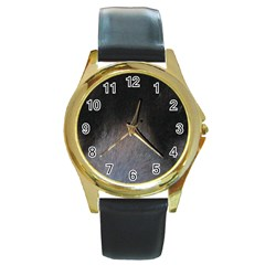 black to gray fade Round Gold Metal Watch