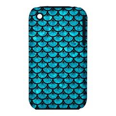 Scales3 Black Marble & Turquoise Marble (r) Apple Iphone 3g/3gs Hardshell Case (pc+silicone)
