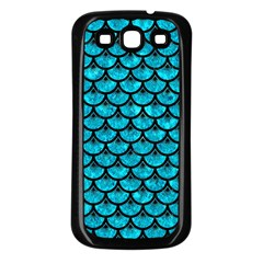 Scales3 Black Marble & Turquoise Marble (r) Samsung Galaxy S3 Back Case (black)