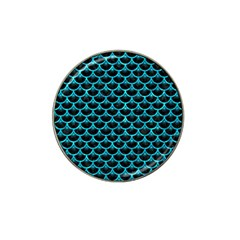 Scales3 Black Marble & Turquoise Marble Hat Clip Ball Marker